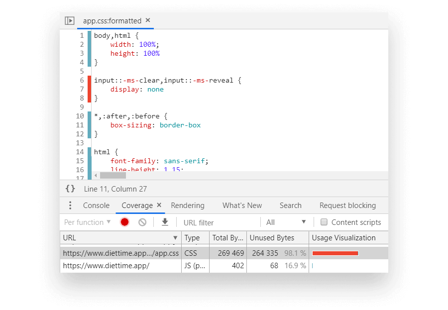 Coverage Tab in Chrome's DevTools