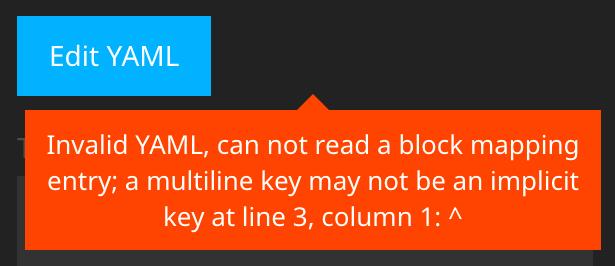 YAML error message