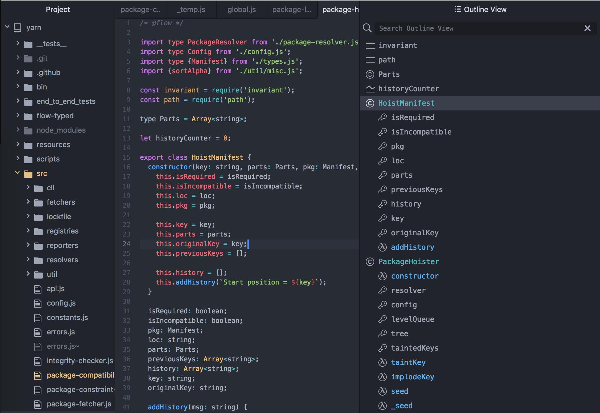 Outline symbols in code