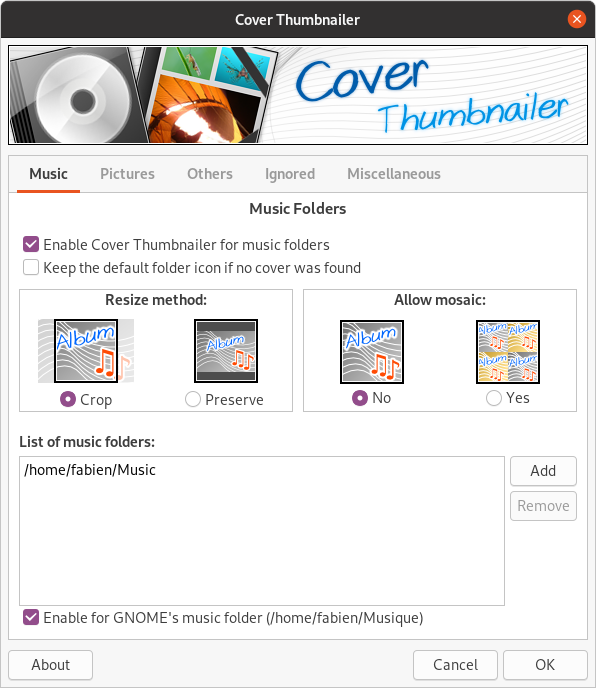 Screenshot of Cover Thumnailer configuration tool