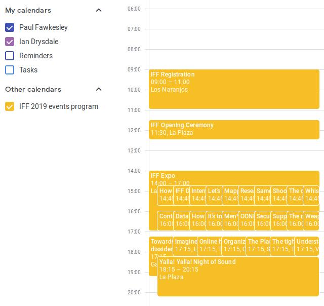 Screenshot: calendar list showing IFF 2019 events programL