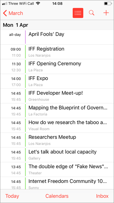 Screenshot: IFF 2019 events showing in Calendar on an iPhone