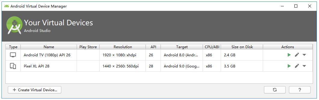 AVD Manager模拟器列表