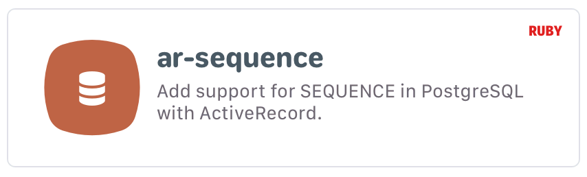 ar-sequence: Add support for SEQUENCE in PostgreSQL with ActiveRecord.