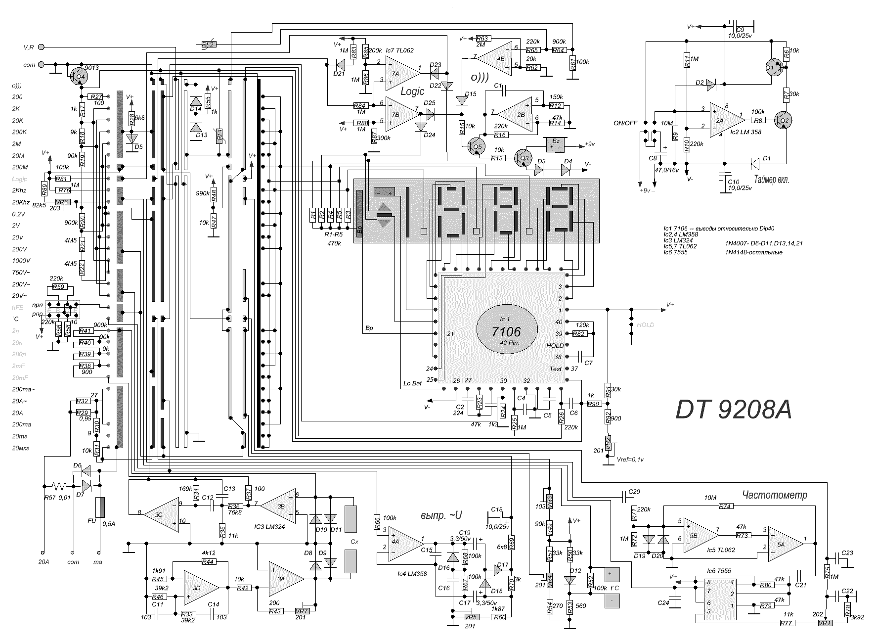 schematic diagram of the multimeter dt9208a