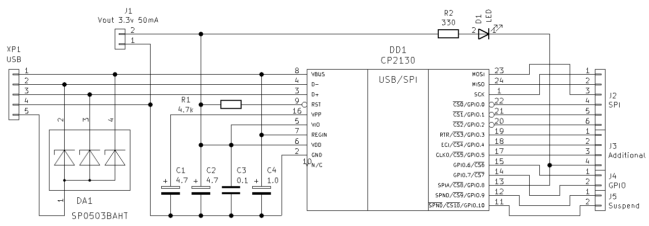 USB to SPI circuit