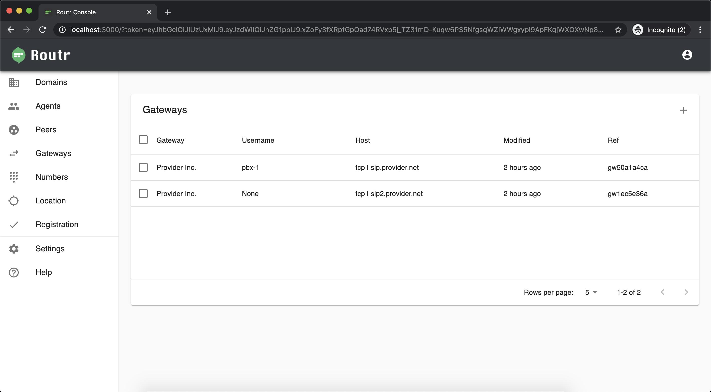 Routr UI Screenshot