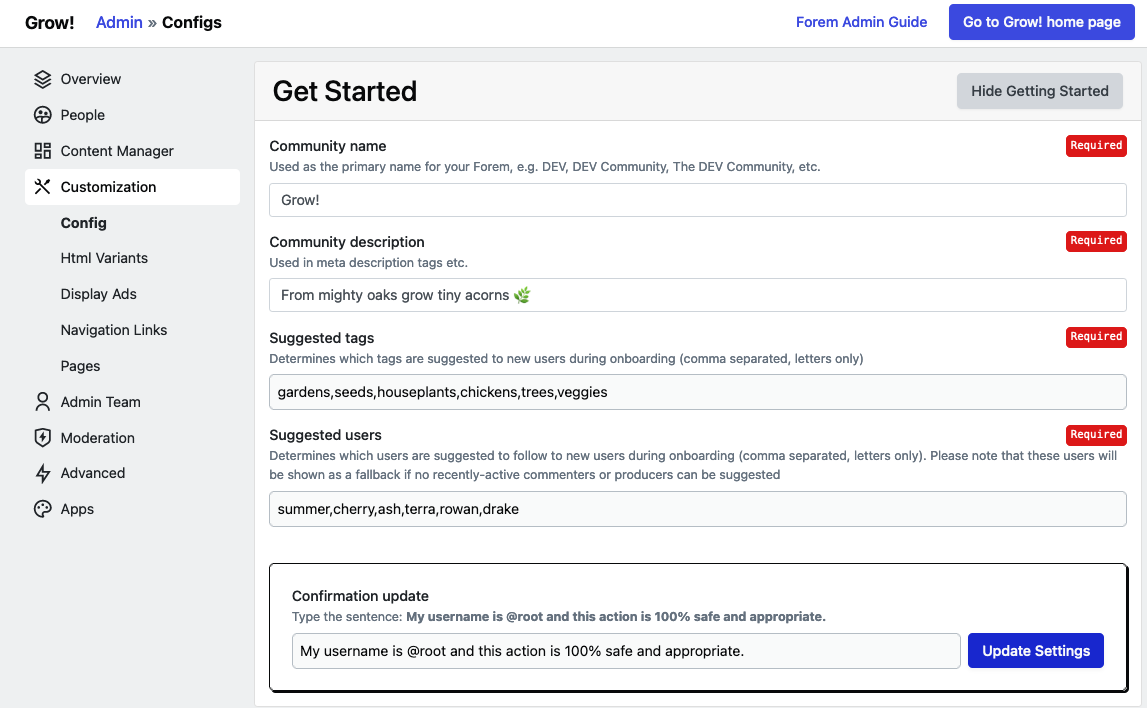 Get Started Config filled out