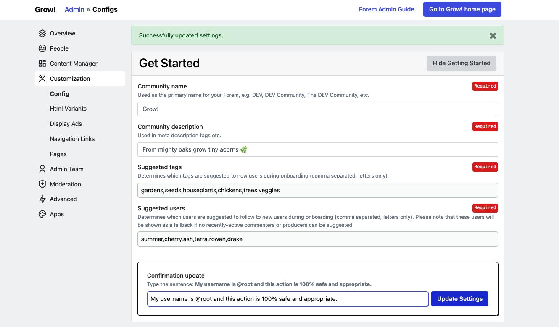 Get Started Config completed
