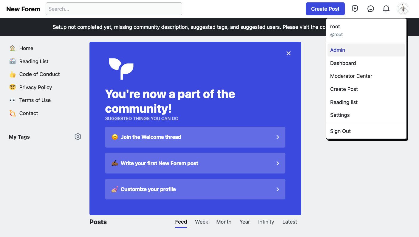 Accessing Admin Portal from dropdown menu under profile image