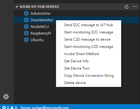 Code snippets for Azure IoT Hub screenshot