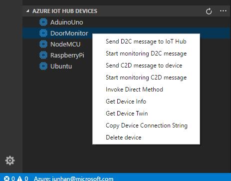 Code snippets for Azure IoT Hub screenshot