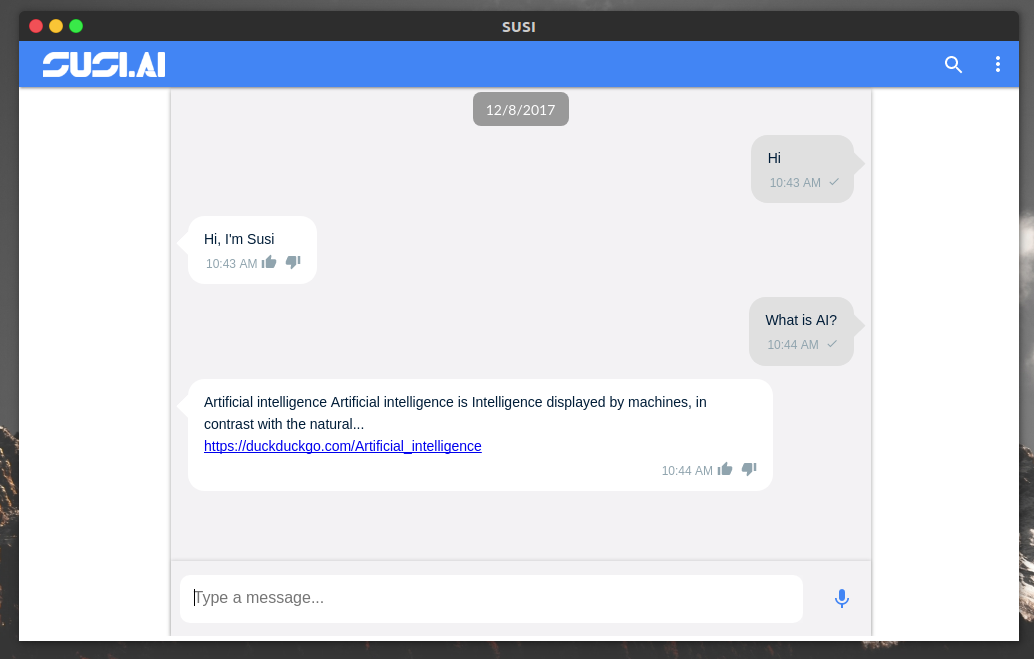 Susi Desktop Screenshot