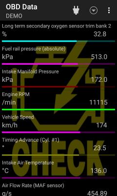 Screenshot of OBD data