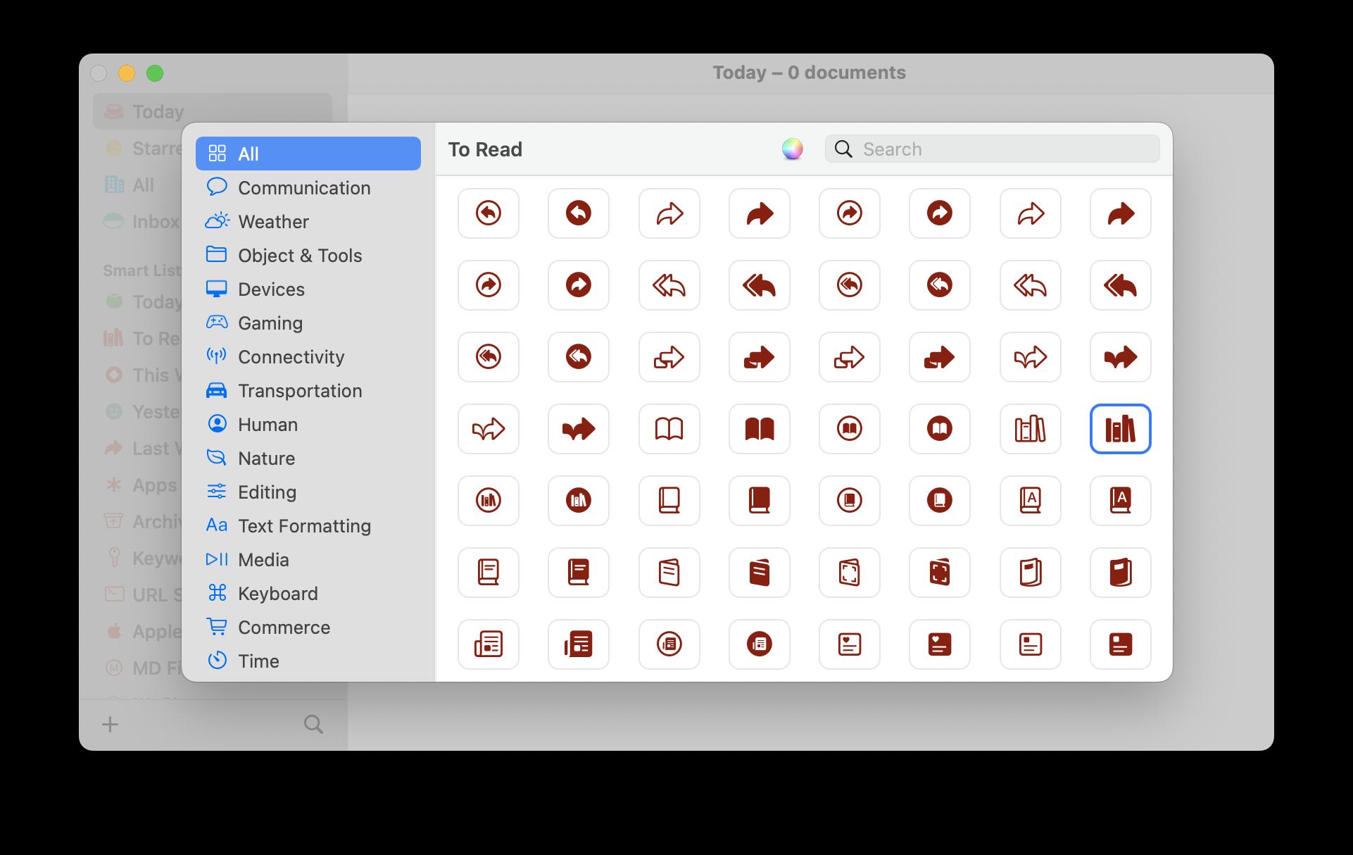 screenshot of Symbol Picker