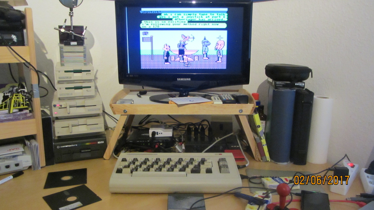 Goethe's real C64 connecting to Neohabitat on Launch Day