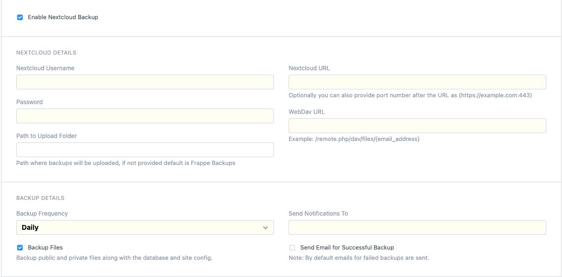 NextCloud Setting Screen