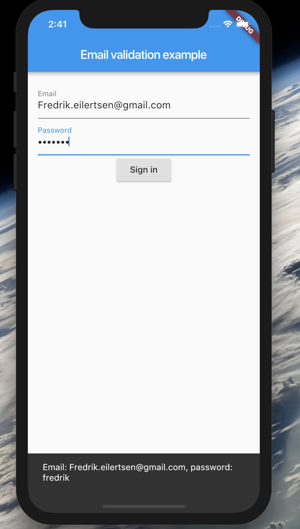 Flutter app for creating basic login forms validation
