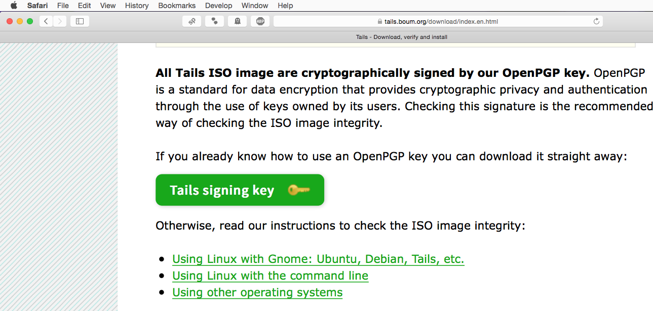 Downloading the Tails signing key.