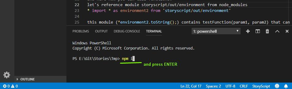 npm install в терминале
