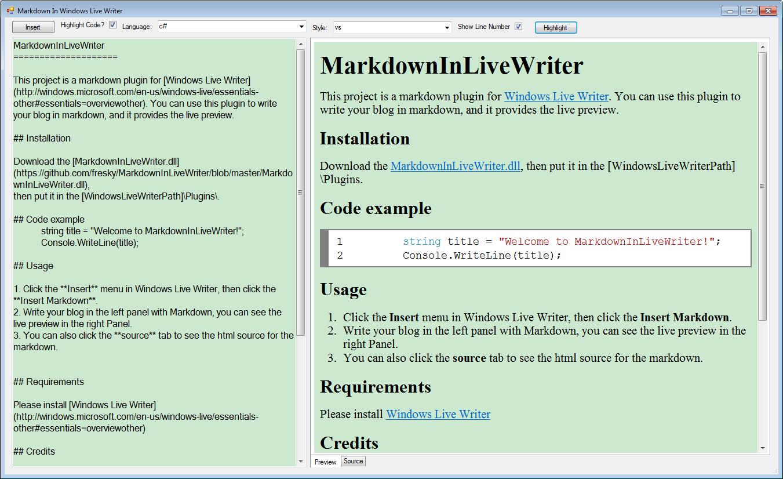 Windows Live Writer的Markdown插件