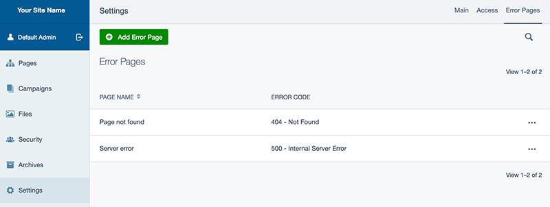 Error pages config