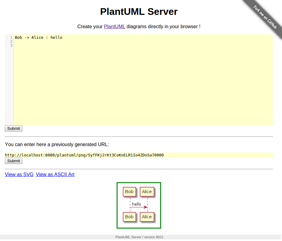 8e28b34e42e PlantUML Server is a web application to generate UML diagrams on-the-fly.