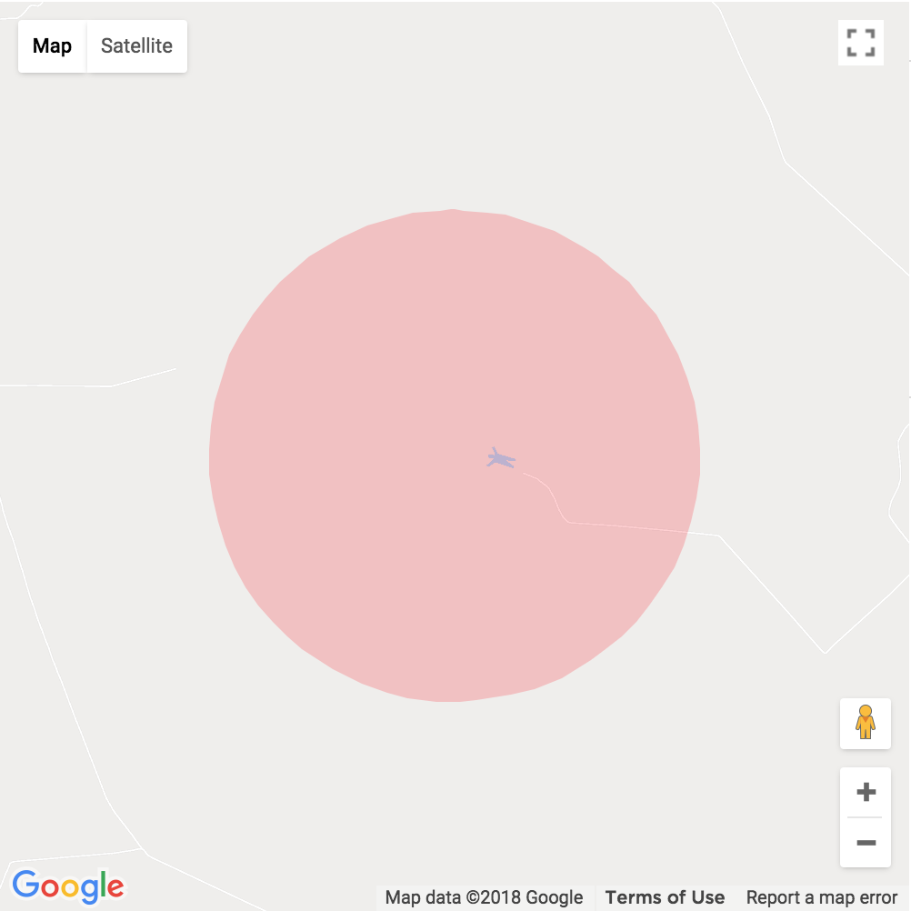 A red slightly transparent circle on a Google Map.  The map is centered around an area in Sao Paulo, Brazil and there is a peculiar lake on the map that is shaped like a man.
