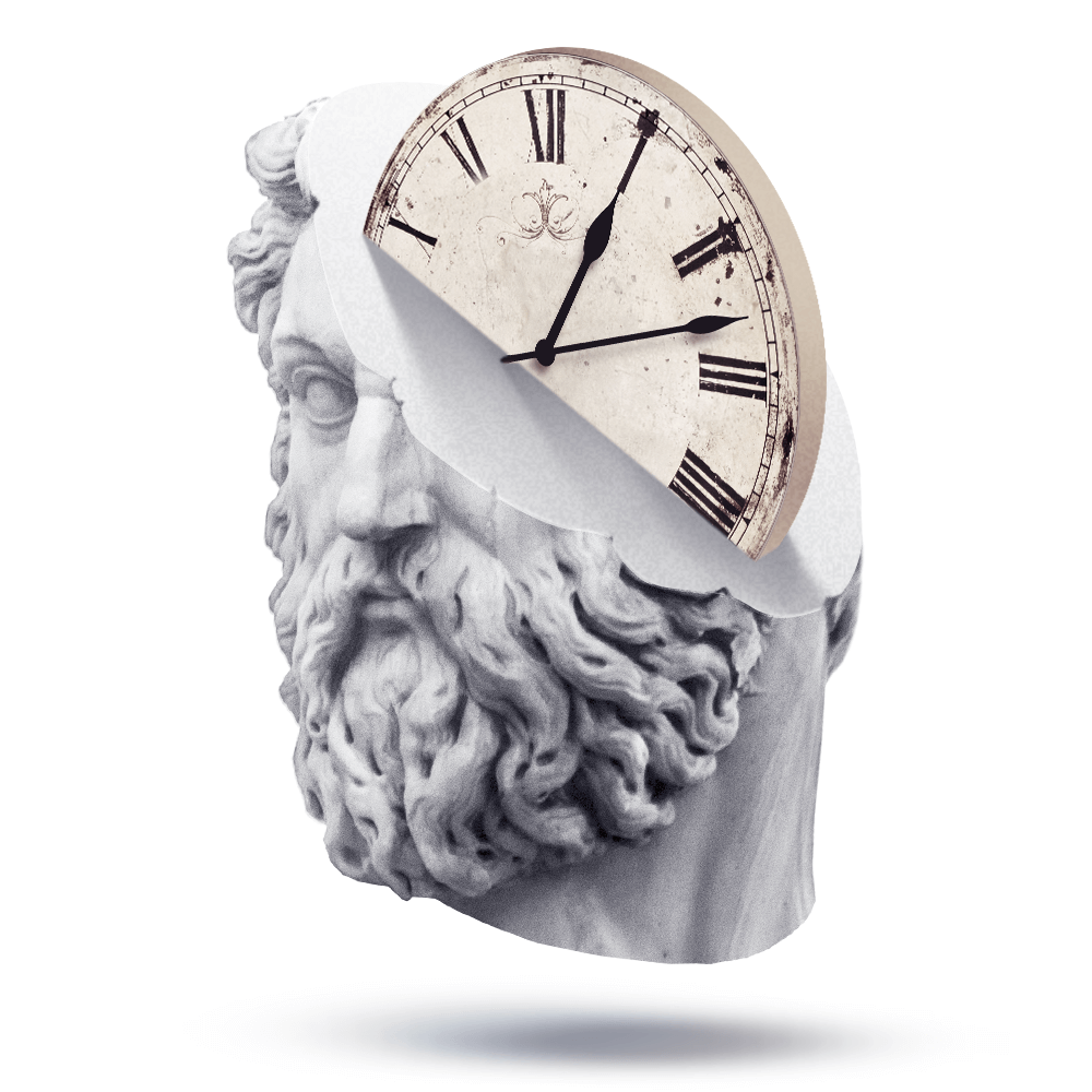 Chronos picture: gloomy antique half-human half-clock carved in stone face