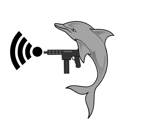 A dolphin shooting WiFi from an Uzi