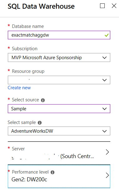 create DW in Azure portal