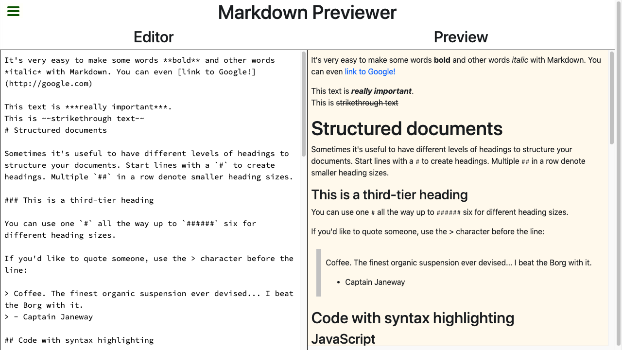 markdown previewer tile