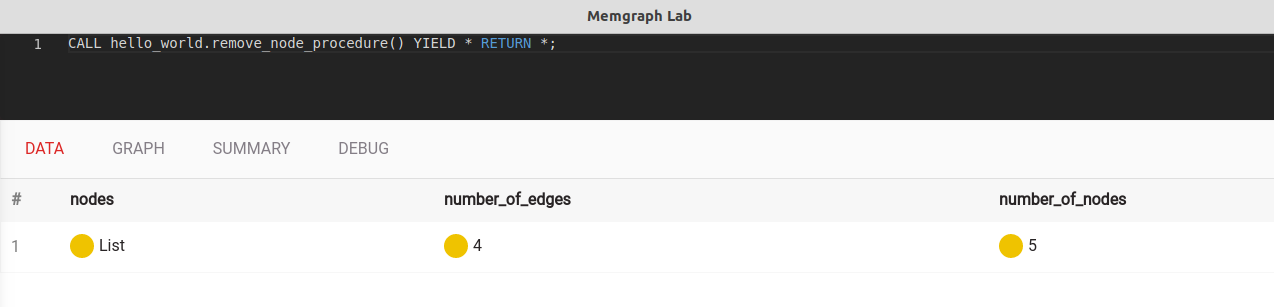 Query result in Memgraph Lab
