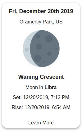 Moon phase widget for website