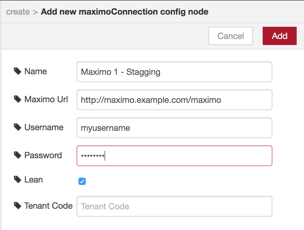 Maximo Connection create