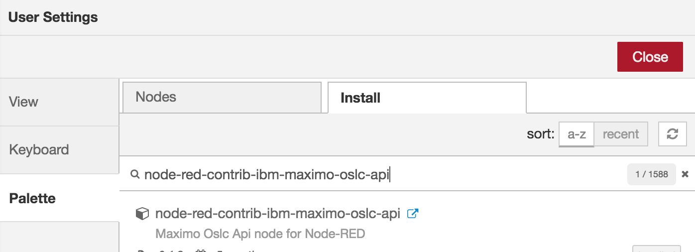 Node-RED package install