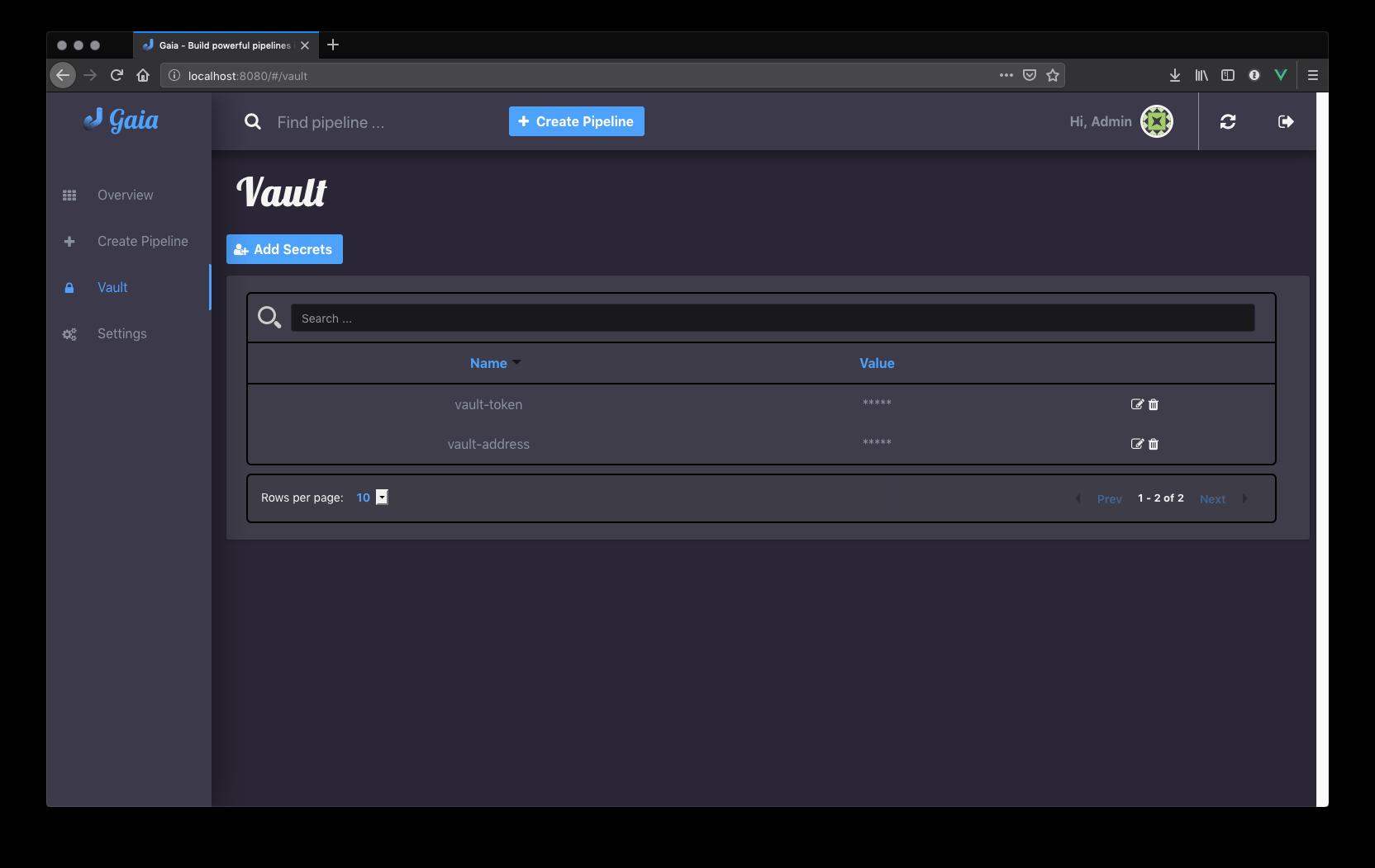gaia Vault screenshot