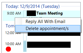 Reply all attendees with an email and delete appointments directly here
