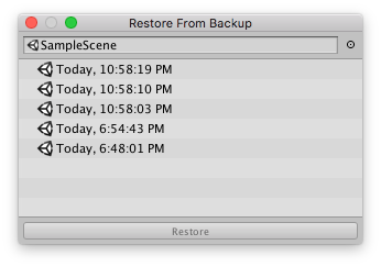 Restore From Backup Window