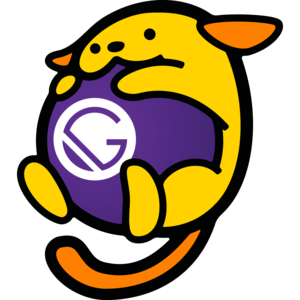 Wapuu hugging a ball with the Gatsby logo on it