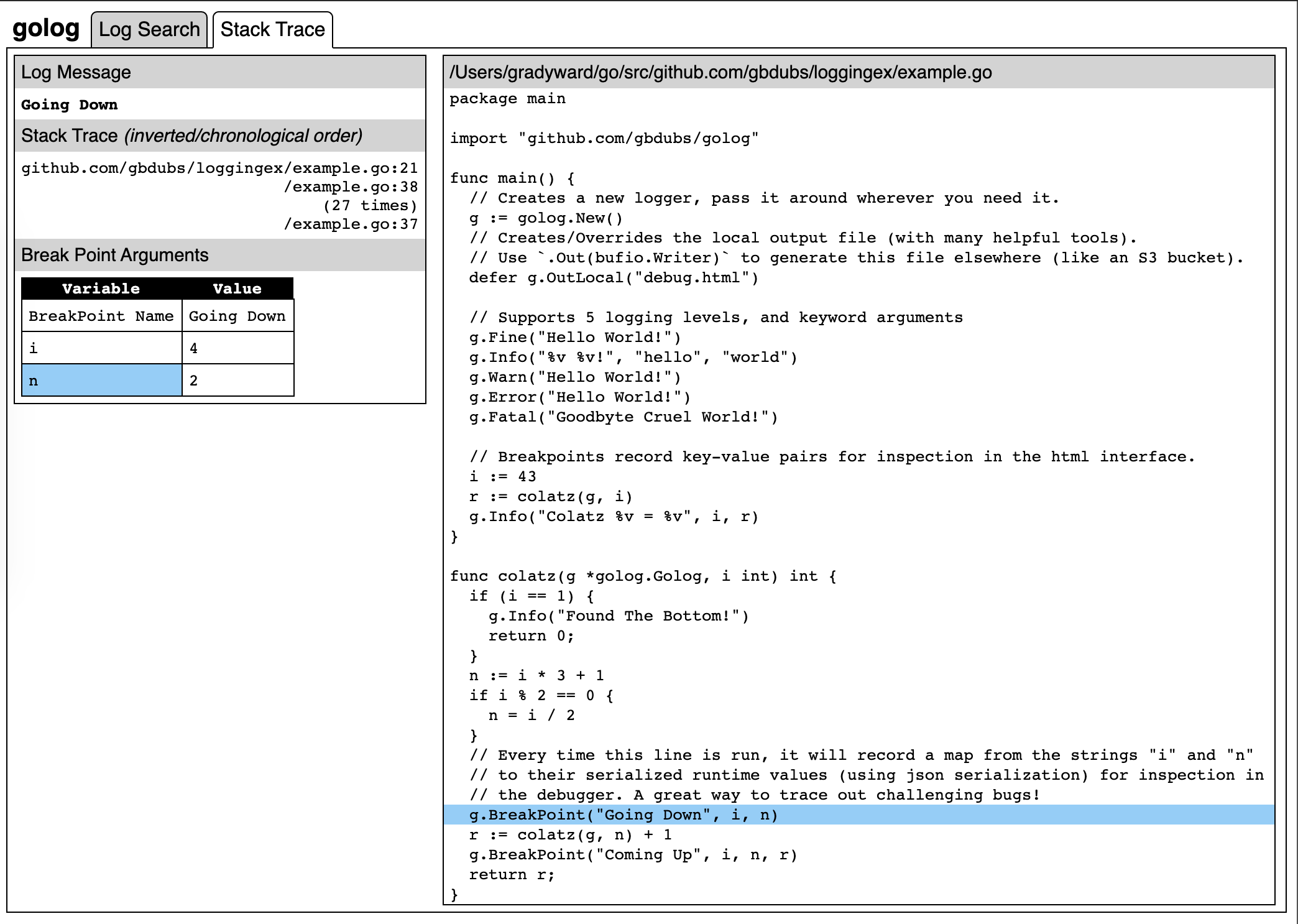 A screenshot of the Golog interface for visual debugging