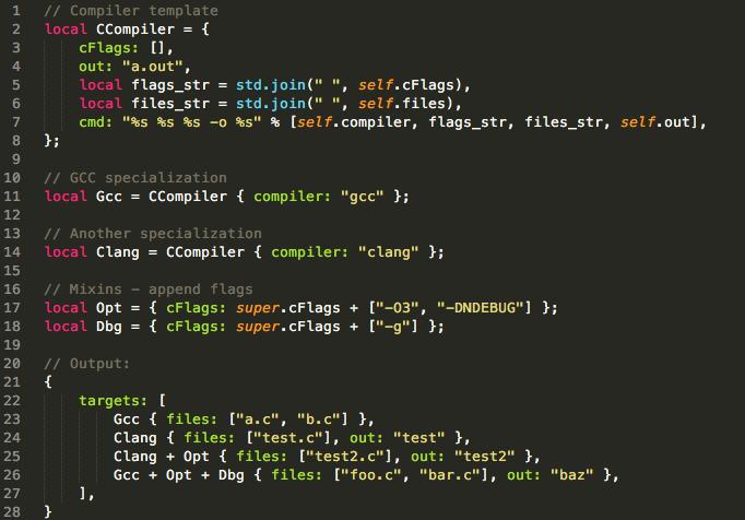 screenshot of Jsonnet syntax highlighting