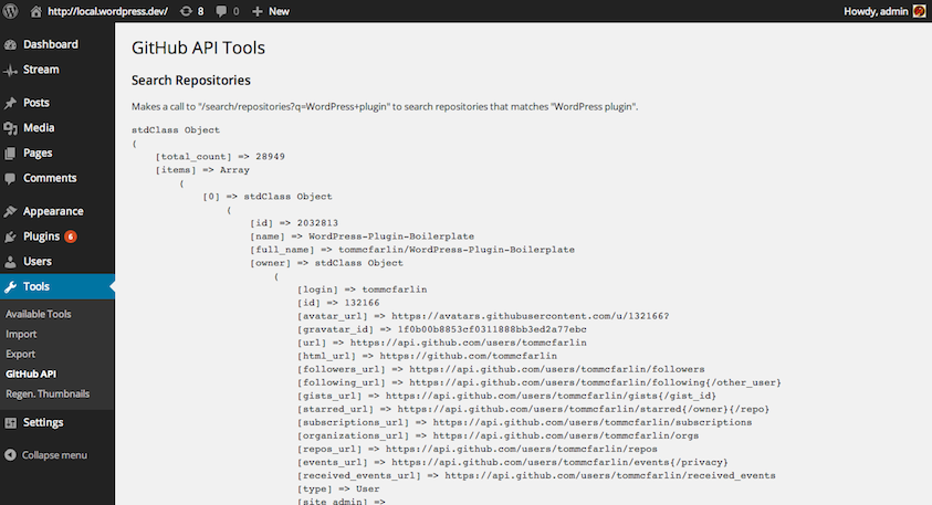 Tool as an example to search repositories