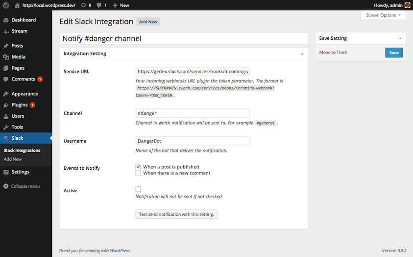 Edit integration screen.