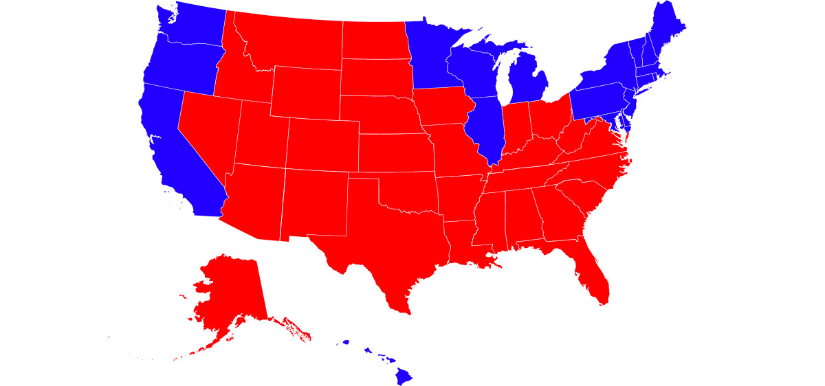 2004 electoral map with the West Coast, New England and Rust Belt states in blue, all other states in red
