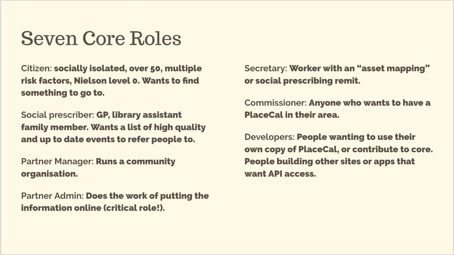 PlaceCal seven core roles