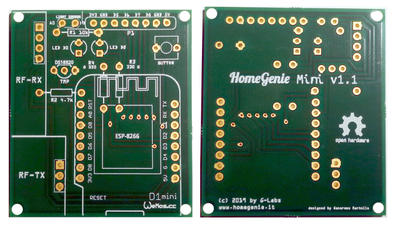HomeGenie Mini PCB front and rear