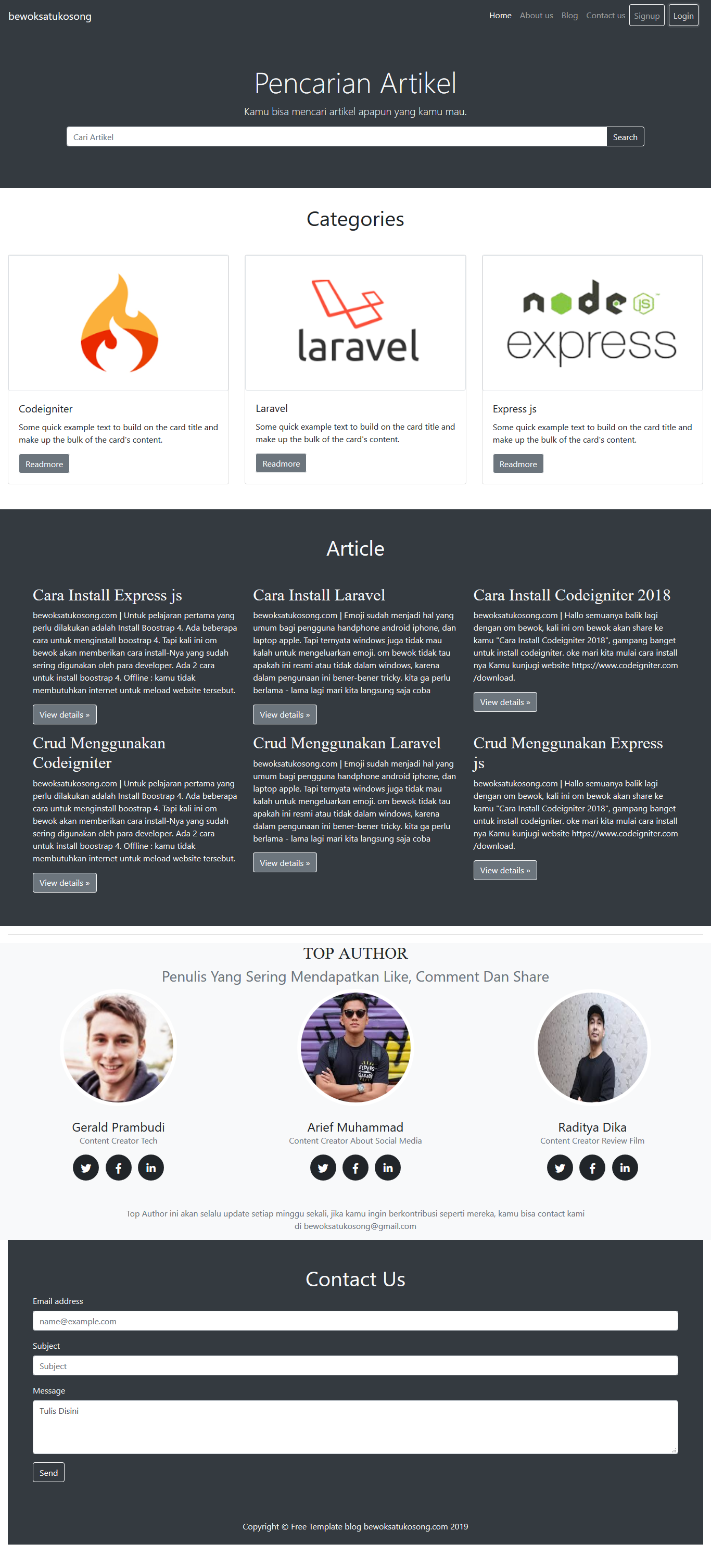 Template Bootstrap Bootstrap 4