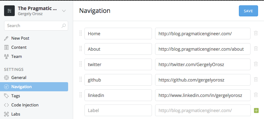 setting up the Ghost navigation links