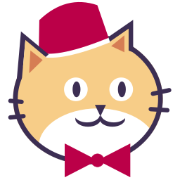 Porter Cat's Head: Smiling yellow cat face wearing a red bellhop hat and red bowtie.